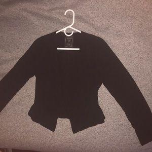 Black ruffle blazer